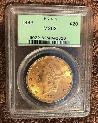 1893 MS62 PCGS Certified Liberty Double Eagle Beautiful Coin OGH