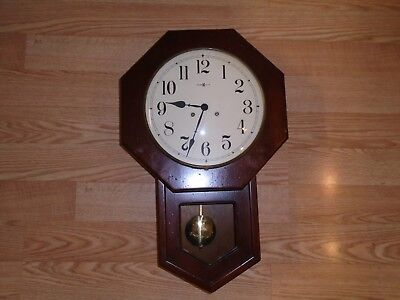 Vtg Howard Miller Wooden Regulator Wall Clock #4997 No. 136 Gong Strike Movement