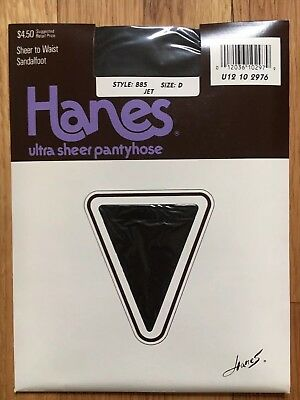 Vtg NOS Hanes Ultra Sheer to Waist Pantyhose Style 885 Jet Black Size D