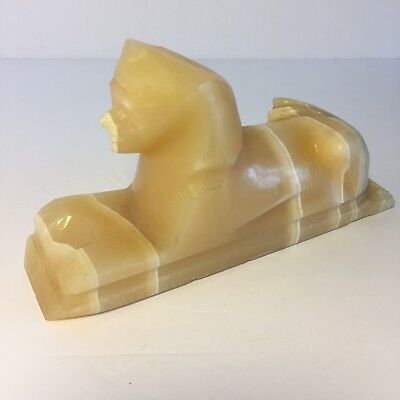 Egyptian Sphinx Statue Carved Alabaster Stone