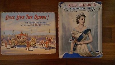 Vintage Coronation Books-Long Live The Queen Pop-Up & Queen Elizabeth Coronation