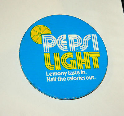 Pepsi Cola Soda Light Lemony taste In Half the calories out 1970s Button Pin
