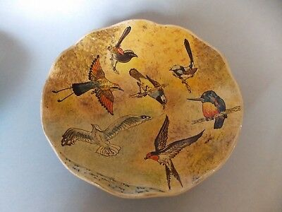 Vintage Kashmir India Lacquer Footed Bowl Hand Made Birds Paper Mache Excellent!