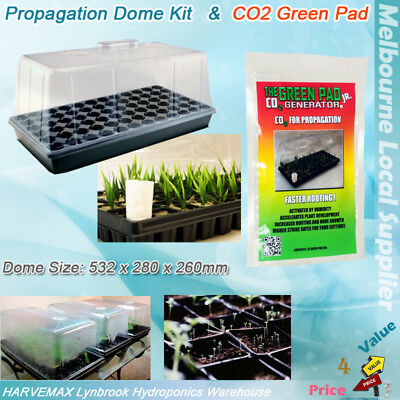 2 Set Propagation Dome 32 Cells Seedling Tray Kit 10Pcs Green Pad CO2 Generator