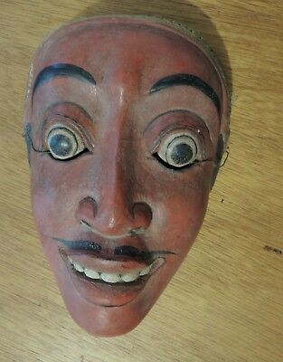 Vtg Antique Masterfully Carved Wooden Mask - Crowned Prince / King possibly Java