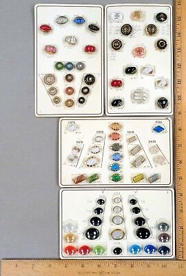 Lot #7 - 4 SALESMAN'S Sample Cards w/ 79 Vintage BUTTONS, German Glass Variety