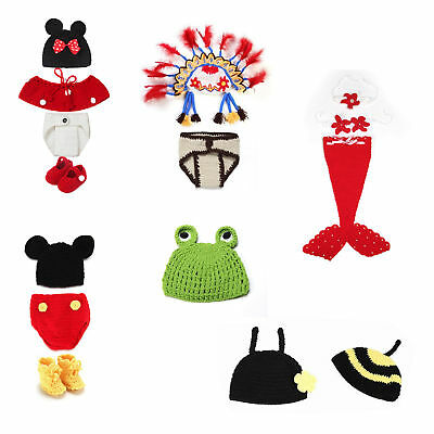 Baby Infant Newborn Animal Knit Costume Photography Prop Crochet Hat Cap Outfits