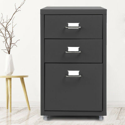 Metal Drawer Filing Cabinet Steel File Cabinets w/ 3 Drawers 4 Casters US N1Z6