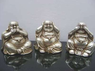 COLLECTABLES OLD CHINESE TIBET SILVER CARVED BUDDHA FIGURINES 3 PCS STATUE c02