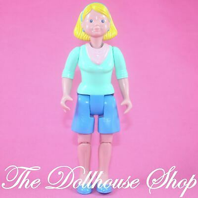 FISHER PRICE Loving Family Dream Dollhouse WOMAN MOM Blonde Doll in BLUE SHORTS