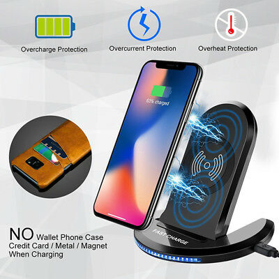 Qi Fast Wireless Charger Stand Charging+Cas For Apple iPhone XS Max/XR/XS X 8 8+