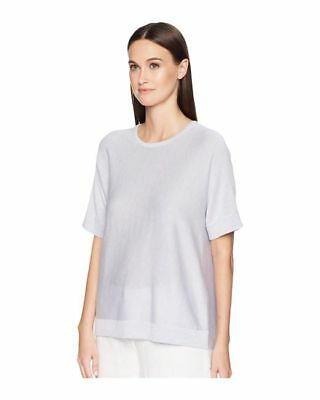 2d592d8bc09 Eileen Fisher Short Sleeve India Sky Tencel Silk Round Neck Top Shirt NWT  SZ L