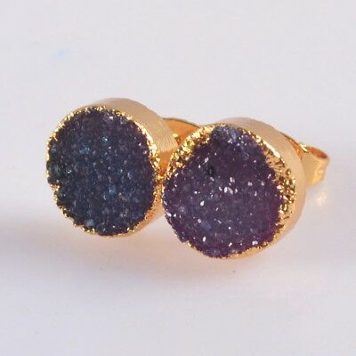 10mm Round Hot Pink Agate Druzy Geode Stud Earrings Gold Plated B076682