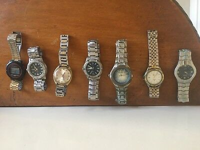 7 X Vintage Mens Watches Rolex Citizen Seiko Elite