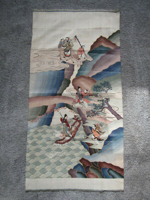 Superb old Chinese kesi silk panel with immortals (T49)
