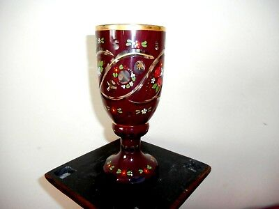 Vintage or antique cut glass and hand painted Bohemian goblet