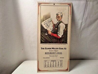 Vintage March 1927 - The Elmer Miller Coal Co. - Blotter Calendar (Toledo)