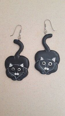 Cat EARRINGS Hand and Carved Painted  Wood Vintage Art Jewelry Bandit NEW