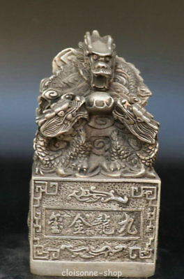 "6"" Chinese Ancient Miao Silver Zodiac Dragon Dynasty imperial Seal Stamp Signet"