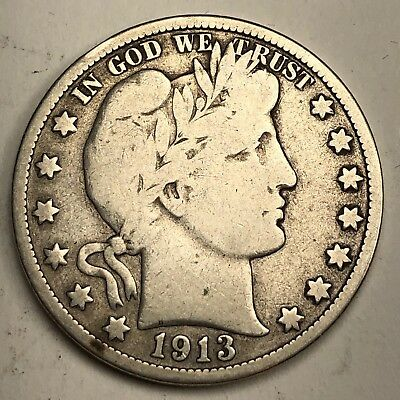 1913 Barber Head Half Dollar 50c - FINE