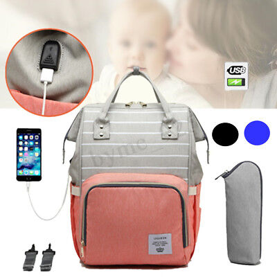 LEQUEEN Waterproof Mummy Baby Diaper Bag Maternity Nappy Bag Travel USB Backpack