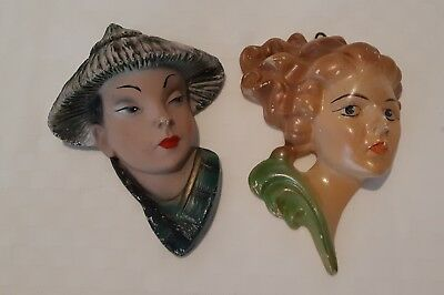 Vintage Coated Plaster Chalk Ware Wall Masks Hanging Heads Faces