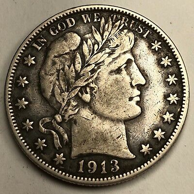 1913-S Barber Head Half Dollar 50c Coin