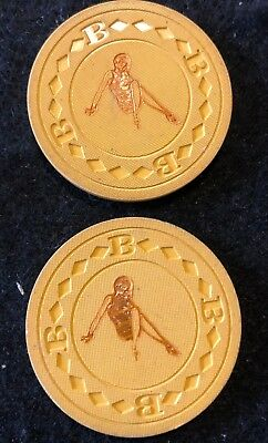 (2) Sexy Lady $5 Hot Stamped Vintage Antique Poker Chip Clay Lot
