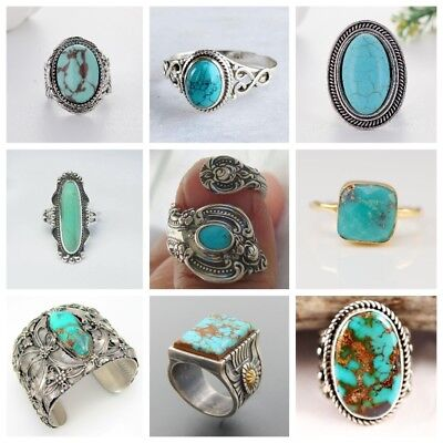 Vintage Bronze Turquoise 925 Silver Round Ring Women Antique mysterious Jewelry