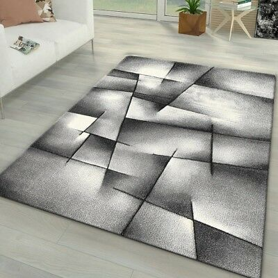 Abstract Rugs Silver Grey Black Geometric Pattern Carpet Modern Living Room Mats