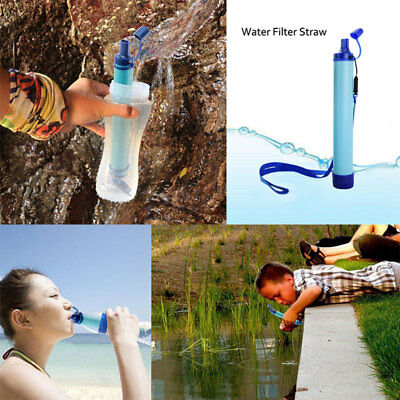 Portable Purifier Water Filter Straw Gear Camping Hiking Emergency Life Survival
