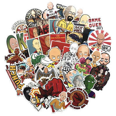 50Pcs Anime One Punch Man Skateboard Stickers Suitcase Laptop Car Decals New