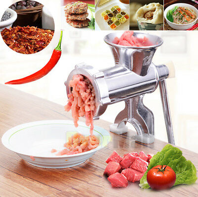 Heavy Duty Manual Meat Grinder Mincer Cast Iron Table Hand Crank Kitchen Tool US