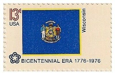 US 1662 State Flags Wisconsin 13c single MNH 1976