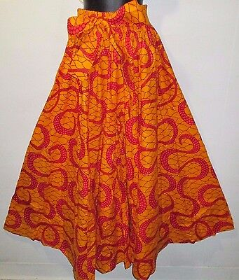 Pants Fits M L XL 1XL XXL African Wax Print Ankara Orange Red Wide Leg NWT P061
