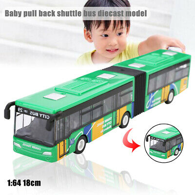 1:64 Baby Pull Back Shuttle Bus Diecast Model Toy Mini Vehicle Kids Gifts 18cm