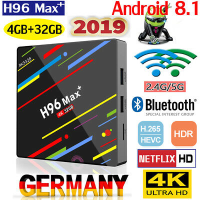 H96 MAX PLUS+ Android 8.1 Smart TV Box 4GB+32GB Quad Core 3D 4K HDR Dual Wifi BT