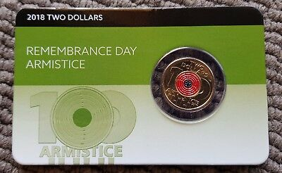 2$ Australian Coin. Two Dollar 2018 Remembrance Day Armistice Poppy Coin On Card