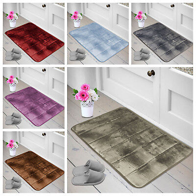 Non-Slip Memory Foam Soft Bathroom Bedroom Door Mat Shower Rug Pad 6 Colors UK