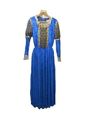 Tudor/Medieval Costume Bright Blue And Gold Dress Theatrical/Panto UK Size 10