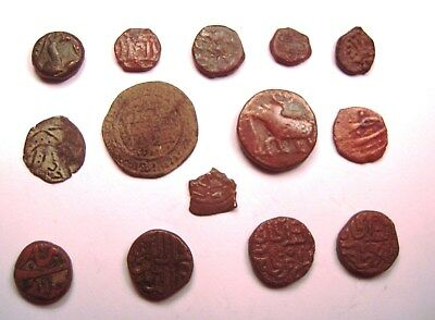 14 INDIAN & ISLAMIC BRONZE COINS. Ref. 2495..