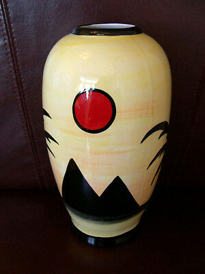 Lorna Bailey Pyramids Art Deco Round Vase Signed Out Of Production Signed