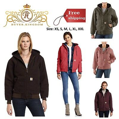 Active Jacket Quilted Flannel Women Lined Sandstone Warm New Zip Front Wear