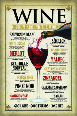 Wine From Around The World Art Print Mural Poster 36x54 inch