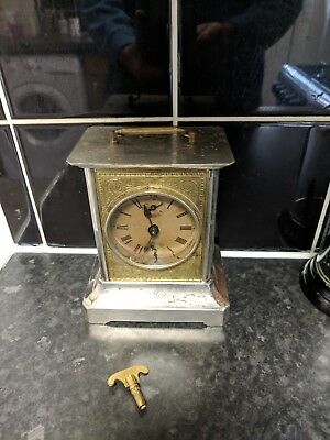 Antique German Badische Mantle Clock carriage clock works fine needs tidying up