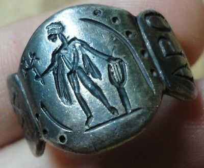Ancient Roman Senatorial Legionary Silver Ring God Apollo Legio XV Apollinaris