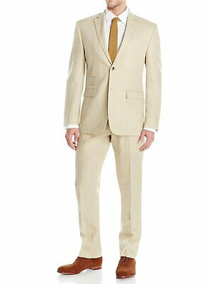 DTI GV Executive Mens Modern Fit Linen Suit 2 Button Summer Blazer With Pants