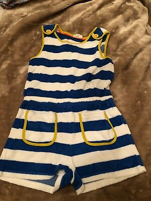 Boden Mini Boden Towelling Playsuit In Blue White Stripes