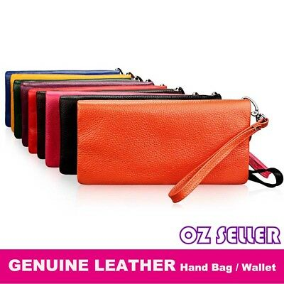 Women Lady Long Genuine leather Wallet Zip Purse Card Phone Holder Handbag AU