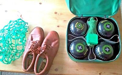 4 x Henselite Supergrip size 1 lawn bowls with Welkin bag and extra's